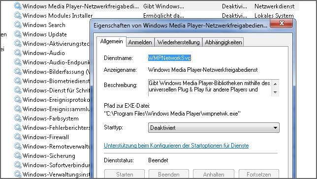 WINDOWS MEDIA PLAYER NETZWERKFREIGABEDIENST WMPNETWK.EXE IN WINDOWS 7