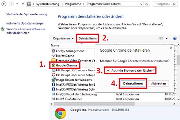 google chrome vollständig löschen deinstallieren windows 7 8