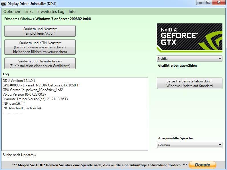 Display Driver Uninstaller DDU Freeware Tool Bedienoberfläche Treiber Reste restlos entfernen