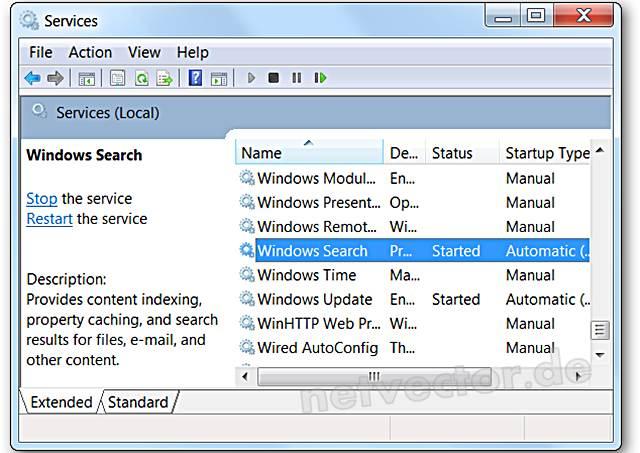 SearchIndexer exe Windows Suche dauerhaft beenden