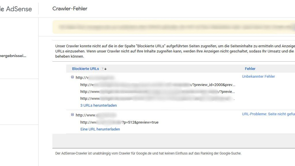 Adsense WordPress Preview Crawler Fehler