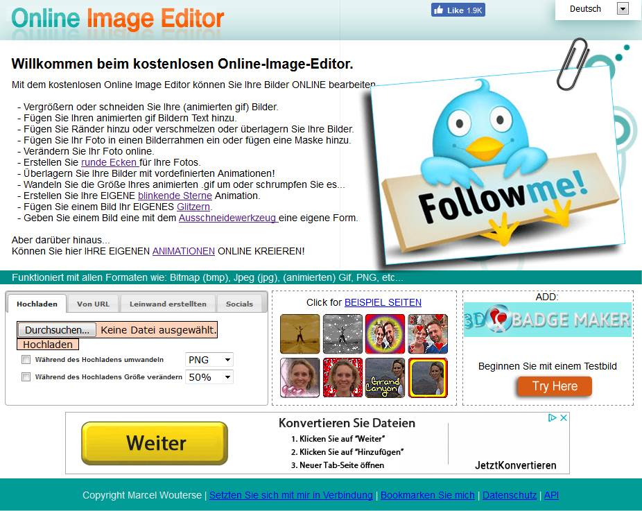 Kostenlose Online Bildbearbeitung Image Editor für Fotos und Gif Bilder