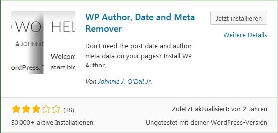 Wordpress Autor und Datum entfernen. Meta Daten ausblenden WP Author, Date and Meta Remover Pro+