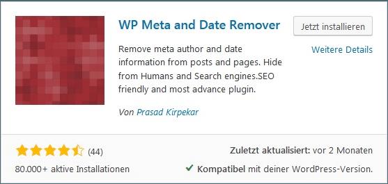 Wordpress Autor und Datum entfernen. Meta Daten ausblenden WP Meta and Date Remover